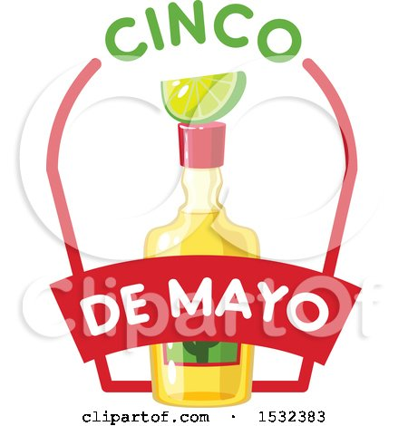 450x470 Clipart Of A Cinco De Mayo Tequila Bottle With Lime