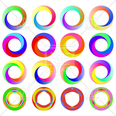 400x400 Set Of Colorful Circle Icons Royalty Free Vector Clip Art Image