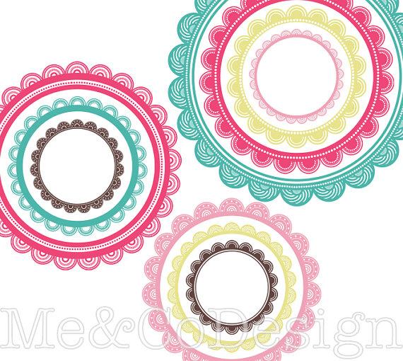 570x510 Circle Frames Clipart Fun Cute Clipart Scrapbooking Design