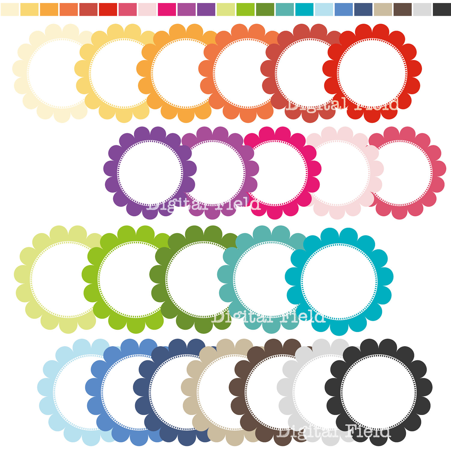 1500x1500 Colorful Circle Frames Clipart