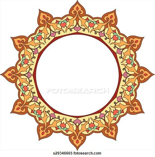 500x507 Red, Orange, Green And Yellow Round Arabesque Frame Clipart Art
