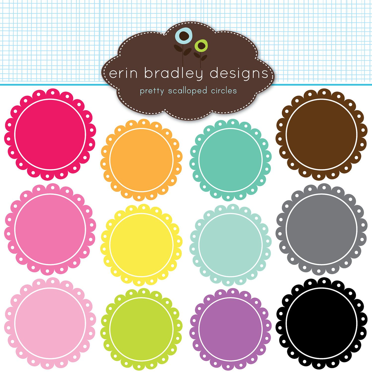 1500x1500 Scalloped Frames Clipart Clip Art Personal Amp Commercial Use