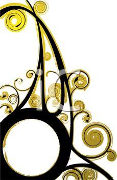 229x350 Black And Gold Swirl Design
