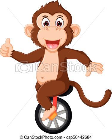 377x470 Vector Illustration Of Cute Monkey Circus Cartoon Up Vector