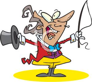 300x267 Clip Art Image A Circus Ringmaster With A Top Hat And Whip