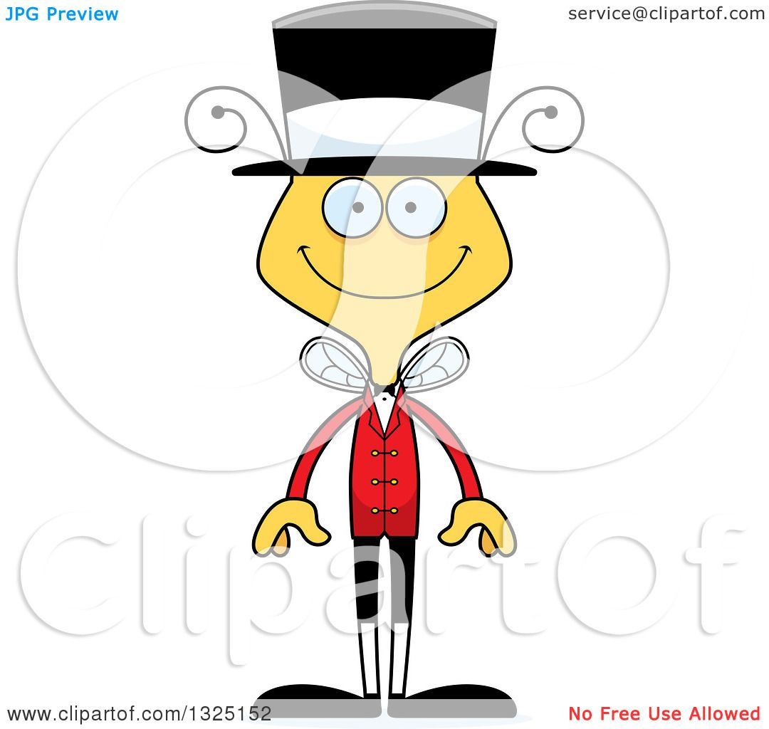 1080x1024 Clipart Of A Cartoon Happy Bee Circus Ringmaster