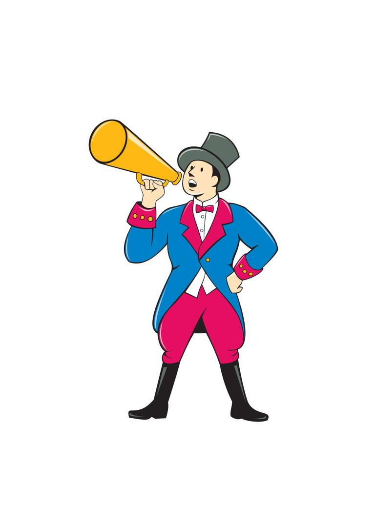 770x1078 Saatchi Art Circus Ringmaster Bullhorn Standing Cartoon New Media