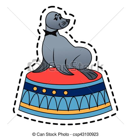 450x470 Isolated Circus Seal Design. Circus Seal Icon. Carnival Fair