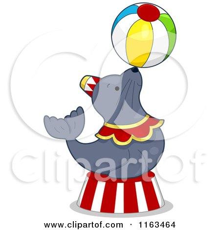450x470 Cartoon Of A Circus Seal Balancing A Ball