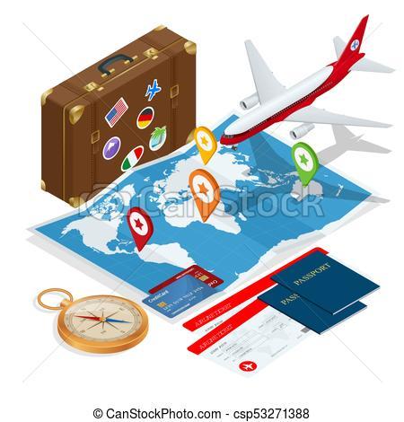 450x470 Airplane Passport Flight Travel Traveller Fly Travelling Vector