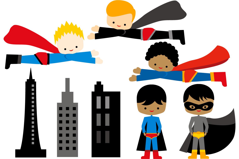 1500x1000 Boy Superhero Clipart Flying, Standin Design Bundles