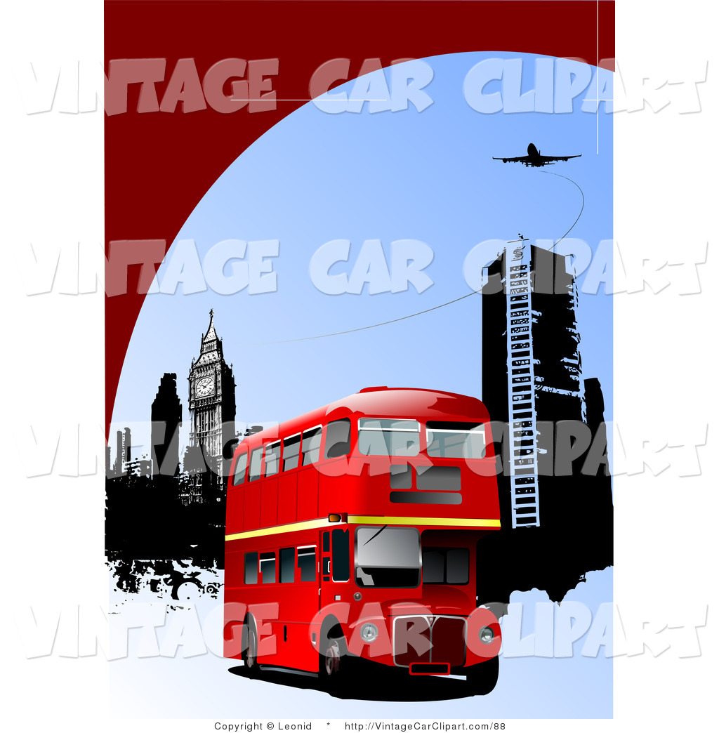 1024x1044 Clipart Of Red Double Decker Bus Near City Buildings Under