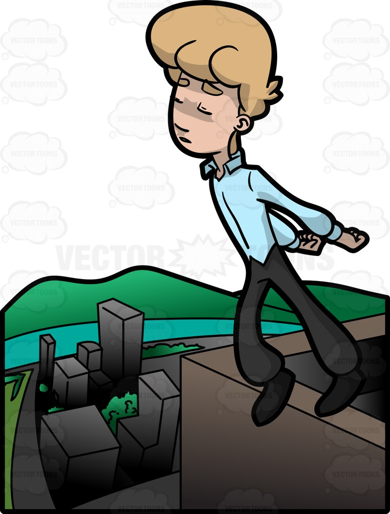 777x1024 A Man Jumping Off A High City Building Cartoon Clipart Vector Toons