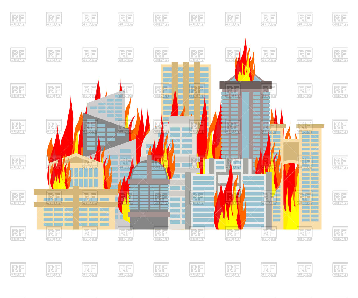1200x1000 City On Fire Royalty Free Vector Clip Art Image
