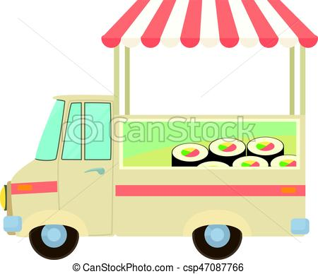 450x388 Fast Food Truck City Car With Sushi Icon. Cartoon Clip Art