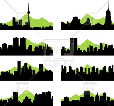 400x369 Silhouettes Of Cities Royalty Free Vector Clip Art Image