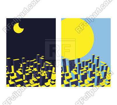 400x359 Skyline City. Night And Day. Abstract Town. Royalty Free Vector