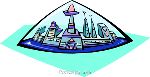 480x249 City, Space Colony Under Dome Royalty Free Vector Clip Art