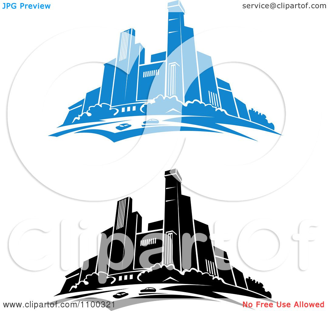 1080x1024 Clipart Blue And Black And White City Skylines