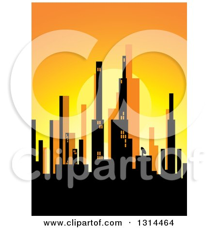 450x470 Clipart Of A Silhouetted City Skyline Of Highrises Against