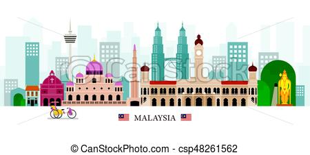 450x226 Malaysia Landmarks Skyline. Cityscape, Travel And Tourist Clip