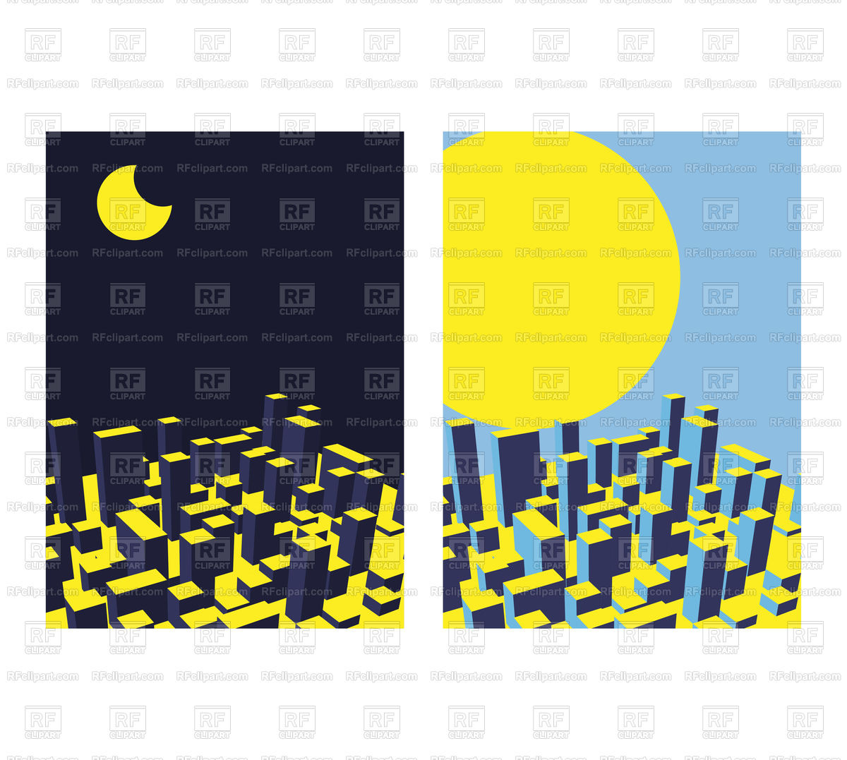 1200x1077 Skyline City. Night And Day. Abstract Town. Royalty Free Vector