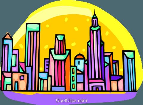 480x351 City Scene Royalty Free Vector Clip Art Illustration Vc000200