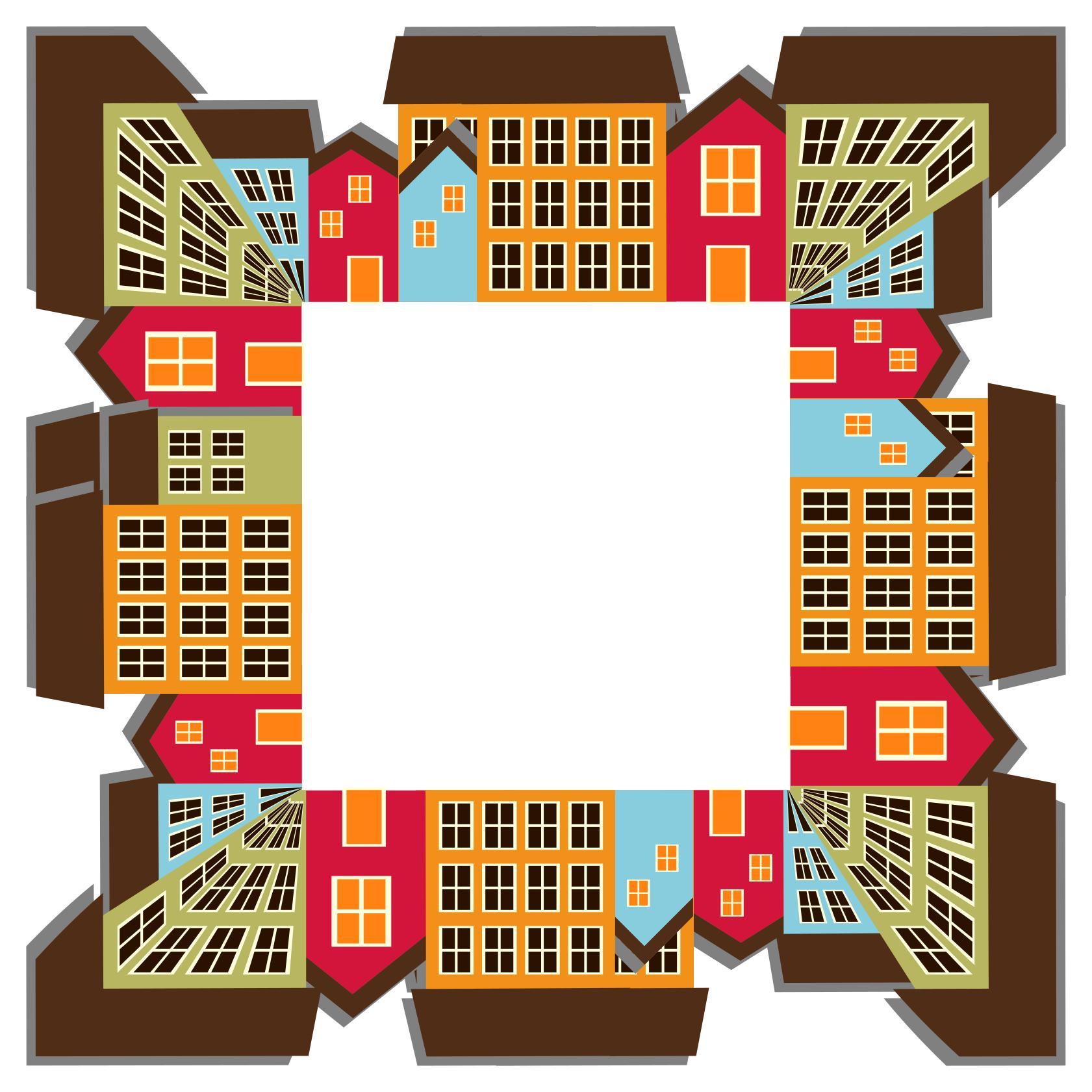 1681x1681 Small Town Cityscape Quadrilateral 2 Clipart