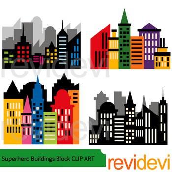 350x350 Superhero Cityscape Clipart