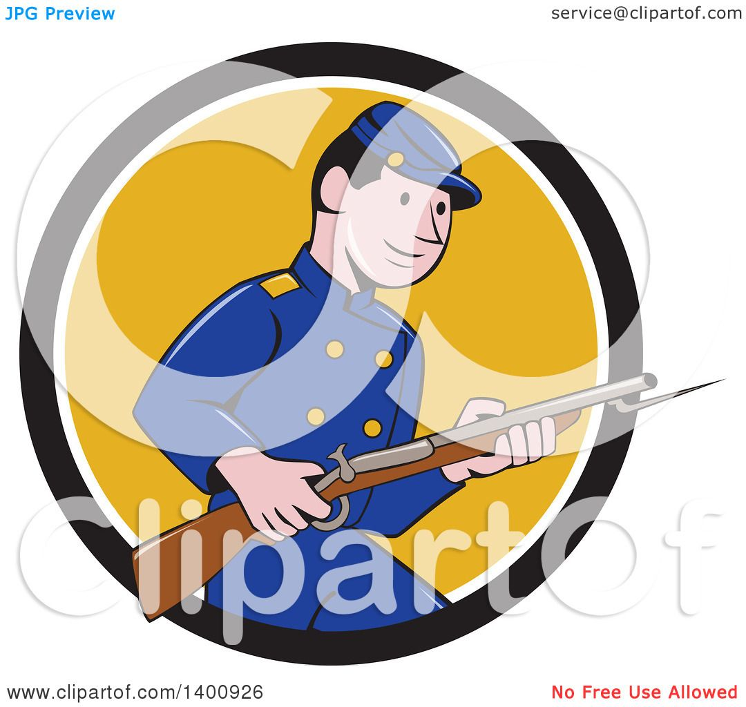 1080x1024 Clipart Of A Retro Cartoon American Civil War Union Army Soldier