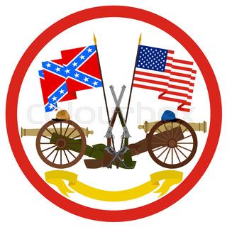 320x320 American Civil War. Stencil. Second Variant. Vector Illustration