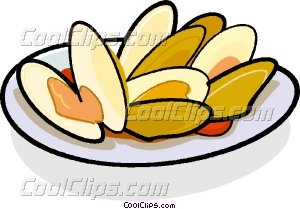 300x209 Clams On A Plate Vector Clip Art