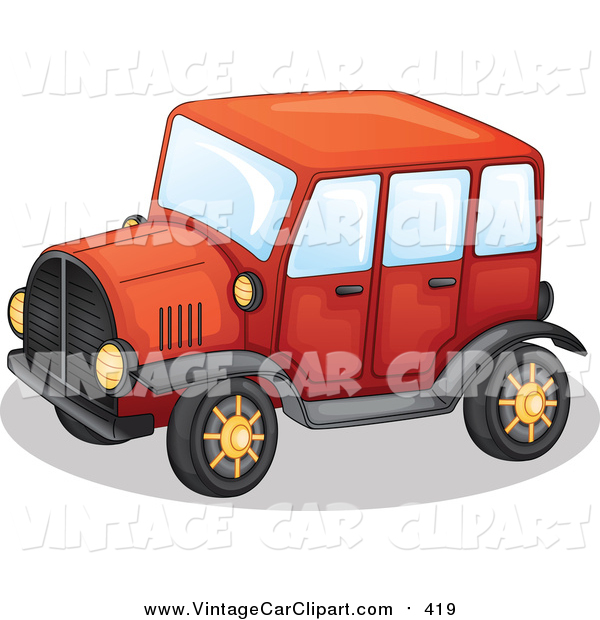 600x620 Clipart Of A Red Antique Car With Gold Rims By Graphics Rf