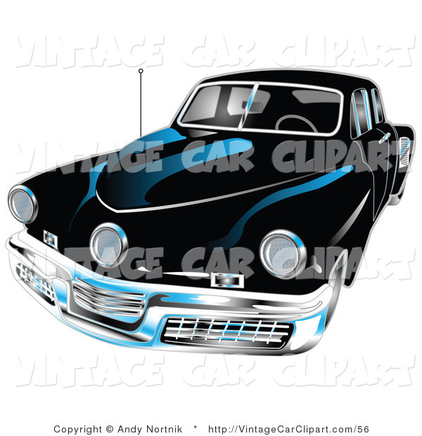 600x620 Clipart Of The Front Of A Black 1948 Tucker Car With A Chrome