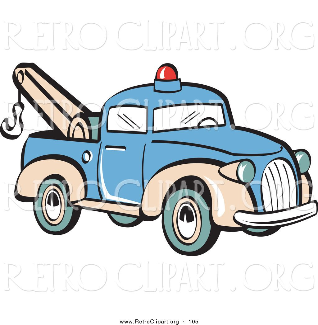 1024x1044 Retro Clipart Of A Blue Toy Tow Truck With A Hook On The Tailgate