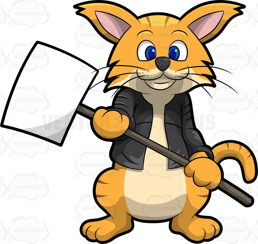 1024x966 Clifford The Cat Holding A Sign Board Cartoon Clipart Vector Toons