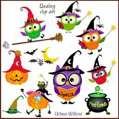 236x236 Halloween Owls Clipart, Commercial Use, Vector Graphics, Digital