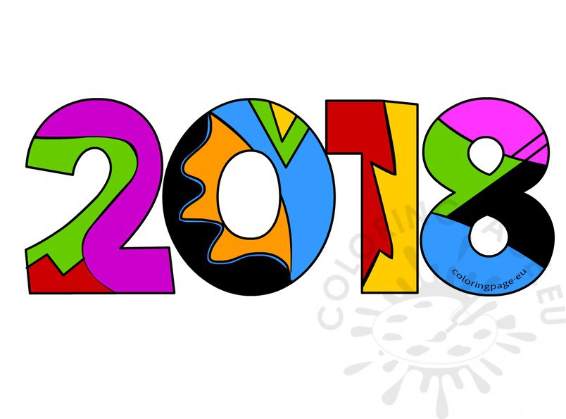 804x595 Happy New Year 2018 Clipart Coloring Page