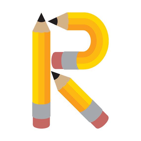 570x570 Pencil Alphabet Letters, Digital, Clipart, Clip Art, Abc'S, Back