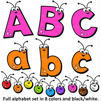 350x350 Clip Art Alphabet Letters Clipart Bugs Abcs And Numbers Tpt