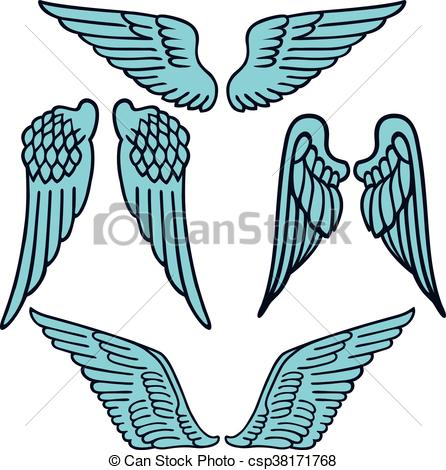 446x470 Angel Wings Linear Set Silhouette Isolated On Background, Clip