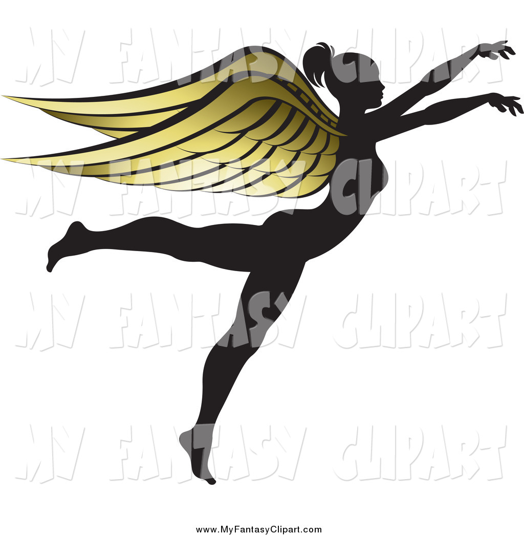 1024x1044 Clip Art Of A Silhouetted Female Angel With Golden Wings By Lal