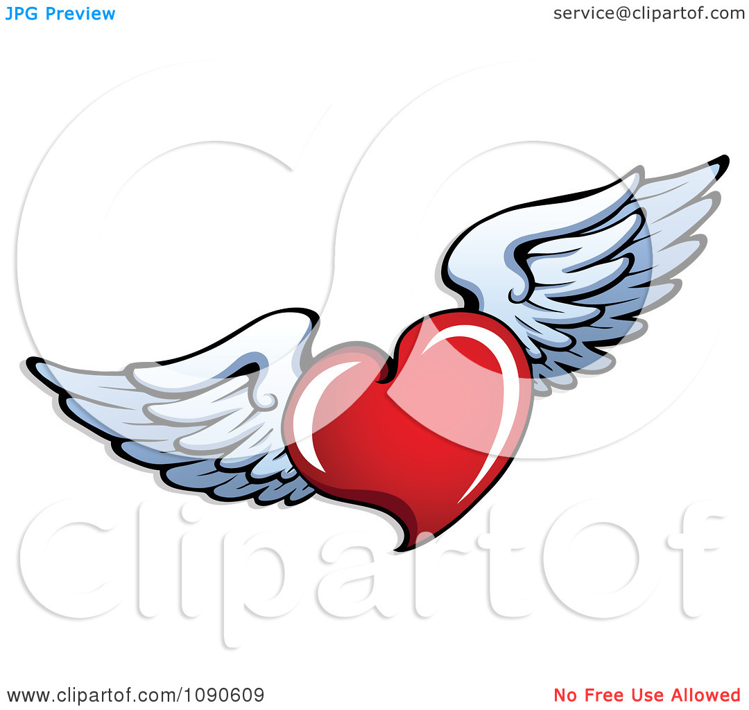 1080x1024 Heart With Angel Wings Clipart
