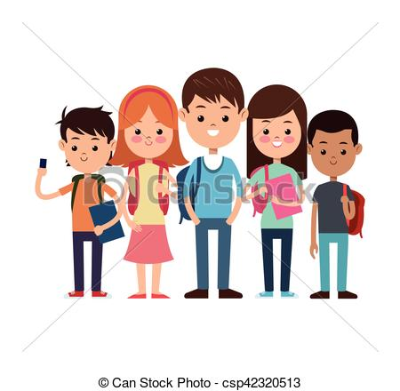 450x440 Back To School Group Students Ready Study Vector Vector Clip