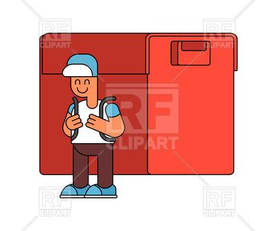400x334 Back To School. Boy And Big Schoolbag. Royalty Free Vector Clip