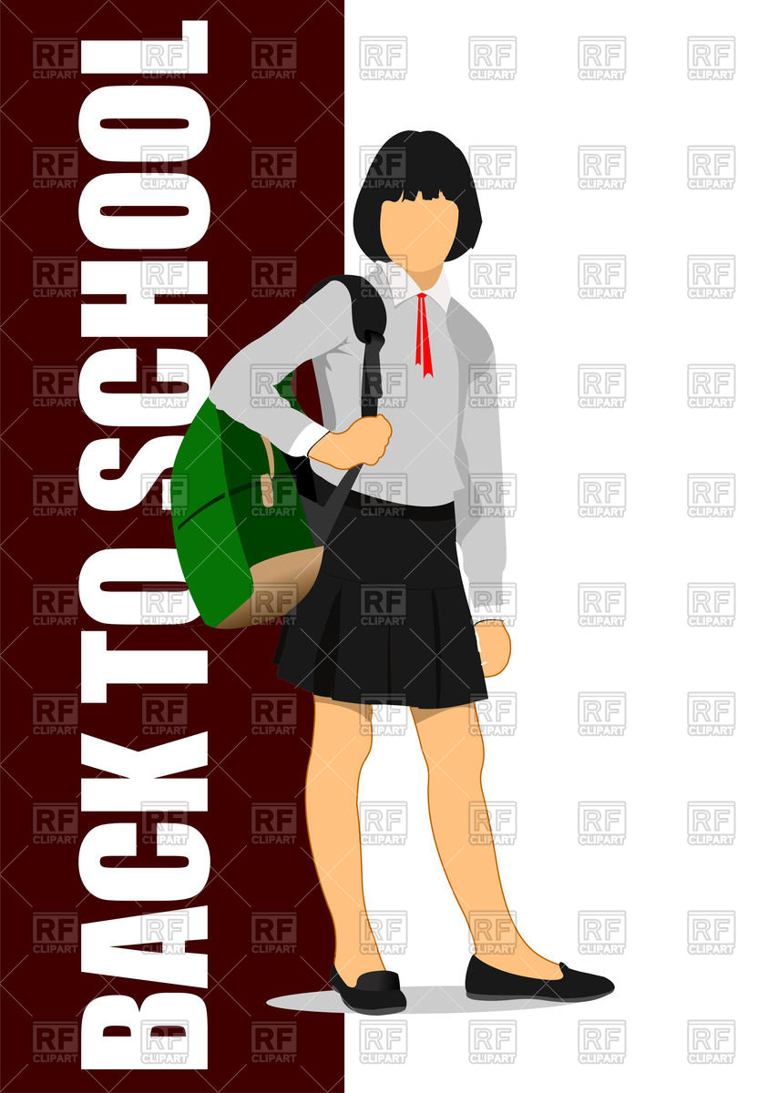 843x1200 School Girl Is Going To School With Backpack