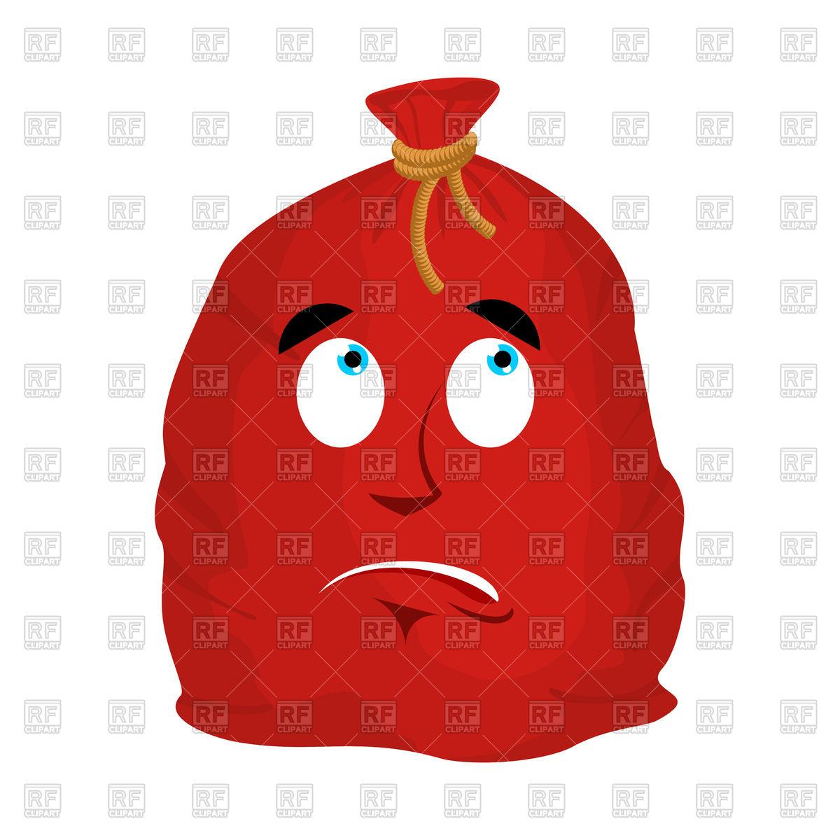 1200x1200 Red Santa Bag With Sad Emotion Royalty Free Vector Clip Art Image
