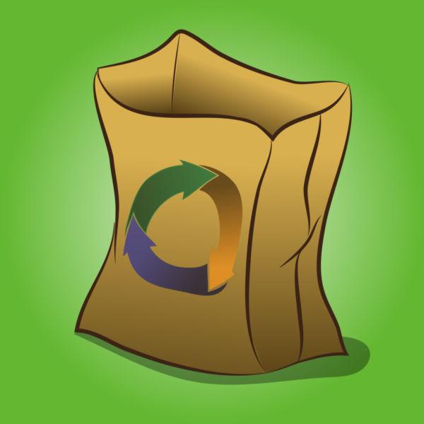 600x600 Clip Art Of A Reusable Paper Bag