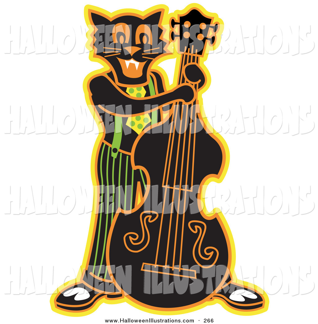 1024x1044 Halloween Cliprt Of Happy Black Cat Playing Bass Fiddle In
