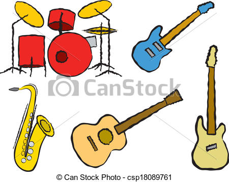450x358 Cartoon Band Instruments. Five Cartoon Musical Instruments Clip